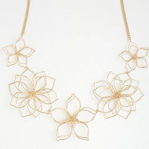 WIRE FLORAL STATEMENT NECKLACE